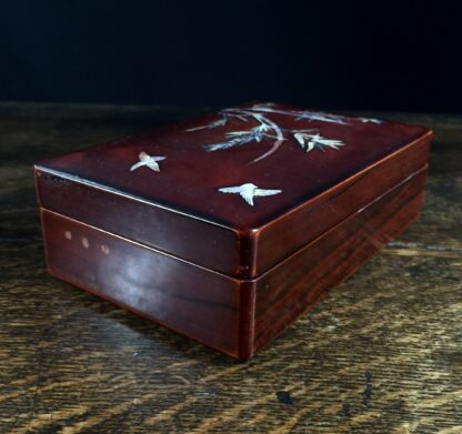 Japanese lacquer box with mother of pearl bird & bamboo, c.1920-11688