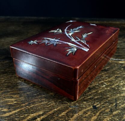 Japanese lacquer box with mother of pearl bird & bamboo, c.1920-11690