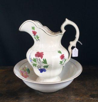 Victorian pottery jug & basin set, possibly Welsh, c.1840-0