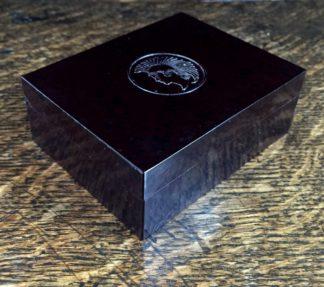 Bakerlite knib box, Trojan head, circa 1920-0