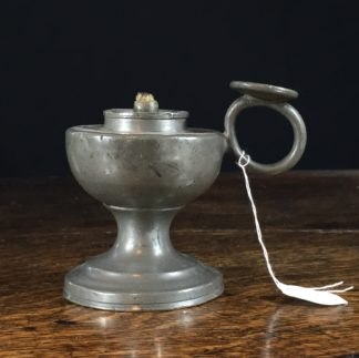 Pewter oil lamp on foot, early 19th century-0