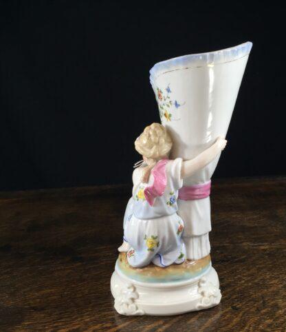 German porcelain vase, lady with bedspread, c.1890-11828