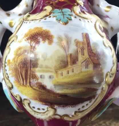 Samuel Alcock rococo vase with flowers & landscape, c. 1830-11832