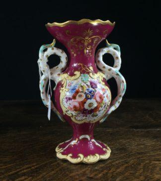 Samuel Alcock rococo vase with flowers & landscape, c. 1830-0