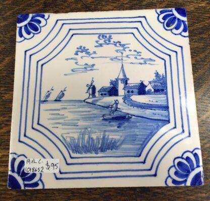 Dutch Delft tile with a seaside scene, 19th century-0