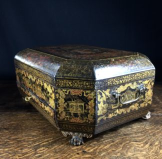 Chinese lacquer sewing box with fittings, writing slope, c. 1830-0