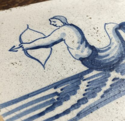 Dutch Delft tile with rare depiction of a merman archer, c.1700-11907