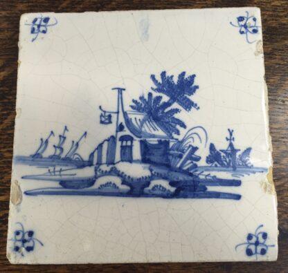 Dutch Delft tile - a tavern & church by the sea, C. 1700-0
