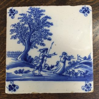 Dutch Delft tile - shepherd & shepherdess, C. 1700 -0