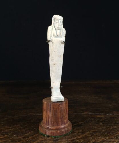Egyptian shabti figure in pale green faience, late period, 700-300 BC-0