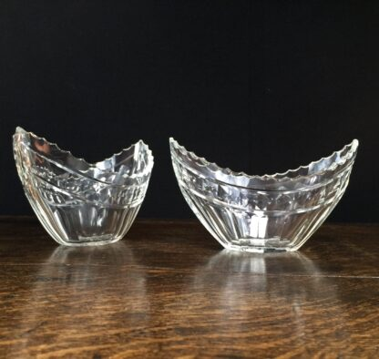 Pair cut glass boat shaped bowls, Georgian style, 19th century -11986