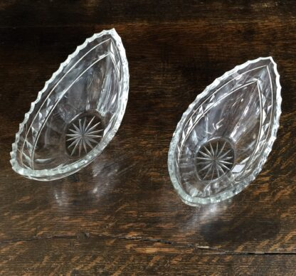 Pair cut glass boat shaped bowls, Georgian style, 19th century -11987