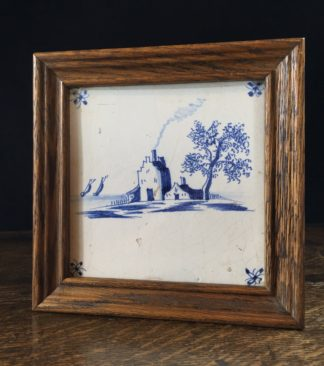 Dutch Delft tile with scene, circa 1700-0