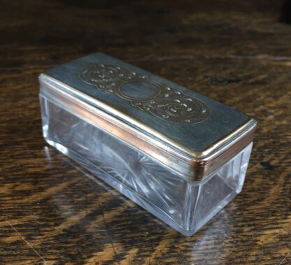 Old Sheffield Plate rectangular dressing table box with pierced lid, c.1825-12016