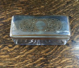 Old Sheffield Plate rectangular dressing table box with pierced lid, c.1825-0