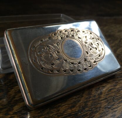 Old Sheffield Plate rectangular dressing table box with pierced lid, circa 1825-12021
