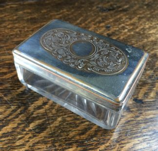 Old Sheffield Plate rectangular dressing table box with pierced lid, circa 1825-0