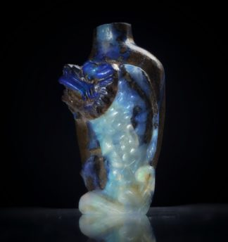 Australian Boulder Opal miniature vase with Dragon, 20th century-0