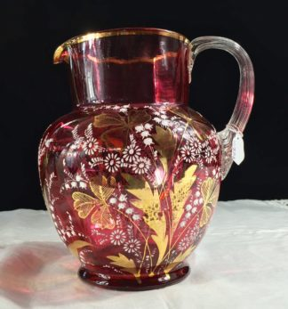 Victorian ruby glass jug, enamelled flowers, Moser? circa 1890-0
