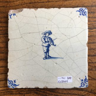 Dutch Delft tile with a fiddler, c.1700-0
