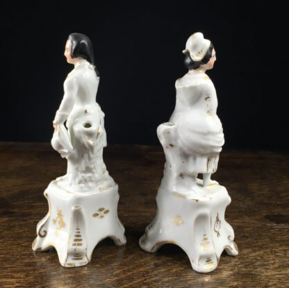 Pair of French porcelain figures on plinths, 19th century-12469