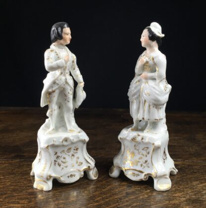 Pair of French porcelain figures on plinths, 19th century-0