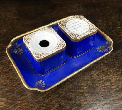 Copenhagen porcelain desk set, sander & inkwell, c.1830-45-0
