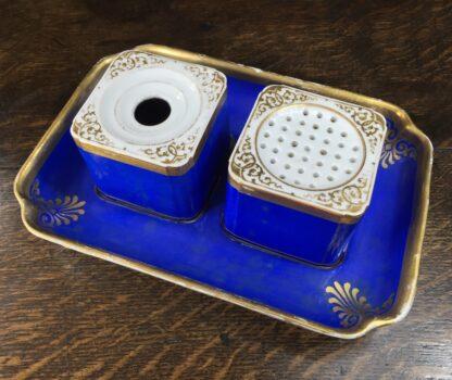 Copenhagen porcelain desk set, sander & inkwell, c.1830-45-12543