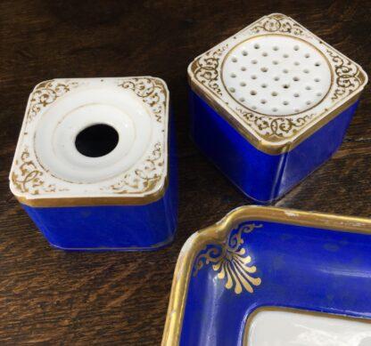 Copenhagen porcelain desk set, sander & inkwell, c.1830-45-12544
