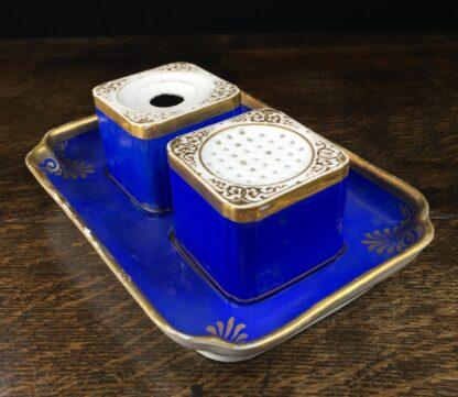 Copenhagen porcelain desk set, sander & inkwell, c.1830-45-12546