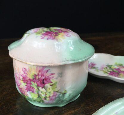 German porcelain dressing table set, flowers, c.1890-12681