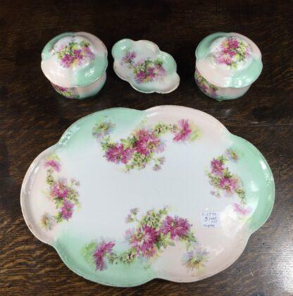 German porcelain dressing table set, flowers, c.1890-12683