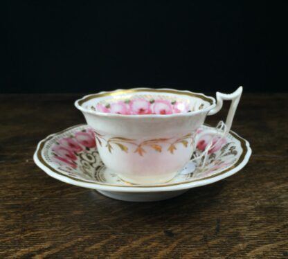 Newhall cup & saucer, brightly painted roses & gilt , C. 1830 -0