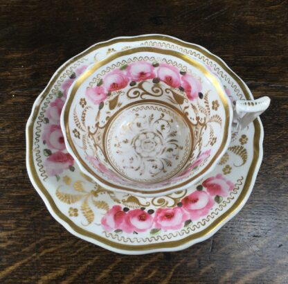 Newhall cup & saucer, brightly painted roses & gilt , C. 1830 -12719