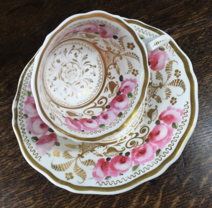 Newhall cup & saucer, brightly painted roses & gilt , C. 1830 -12720