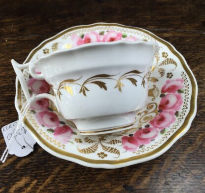 Newhall cup & saucer, brightly painted roses & gilt , C. 1830 -12721