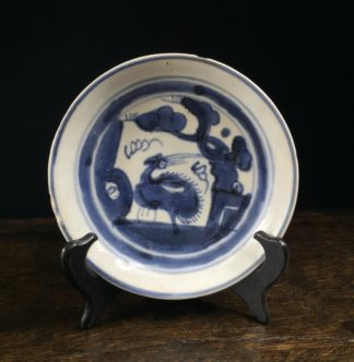 Chinese blue & white dish, bird, Ming Dynasty 16th-17th century-0