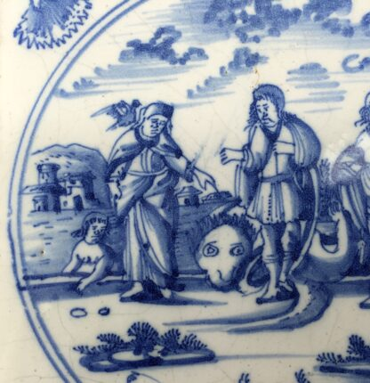 Delft tile, biblical scene with three prophets, c. 1720 -12790