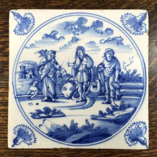 Delft tile, biblical scene with three prophets, c. 1720 -0