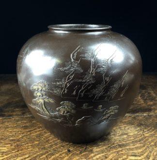 Japanese bronze vase with incised scene, c.1900-0