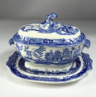 Willow Pattern small tureen & stand, MWH - British Anchor Pottery, c. 1860-0