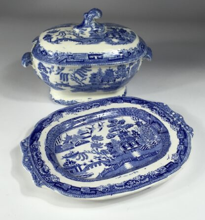 Willow Pattern small tureen & stand, MWH - British Anchor Pottery, c. 1860-13017