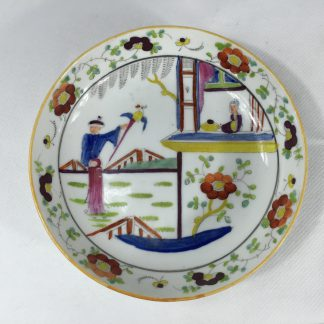 Newhall saucer, Chinoiserie clobbered pattern 1040, c. 1805-0