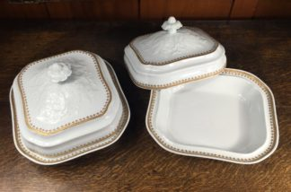 Rare pair of Chinese Export covered dishes, European form, c. 1780-0