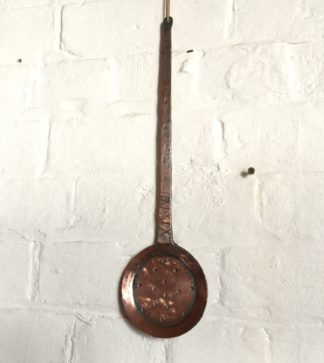 Middle Eastern solid copper skimmer, X design to handle, 19th century -0
