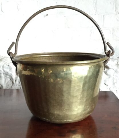 Brass pot with iron handle, 19th century -0