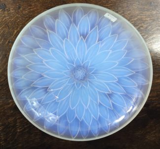 Large Etling Deco 'Sunflower' opalescent glass dish, circa 1925-0