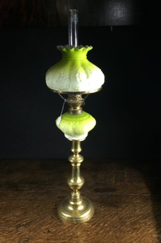 Victorian yellow glass kero lamp, brass candlestick fitting, c.1880 -0