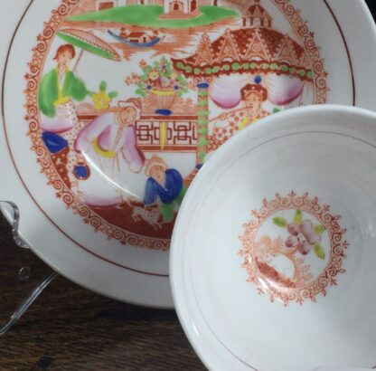 London shape cup & saucer, Chinoiserie print, Hilditch, c. 1825-13835