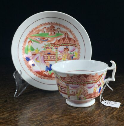 London shape cup & saucer, Chinoiserie print, Hilditch, c. 1825-0
